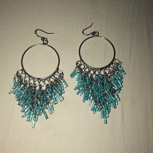 Jewelry - BOHO Turquoise Beaded Chandelier Hook Earrings
